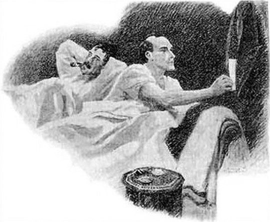 Sherlock Holmes in bed, illustraion by Sidney Paget, public domain