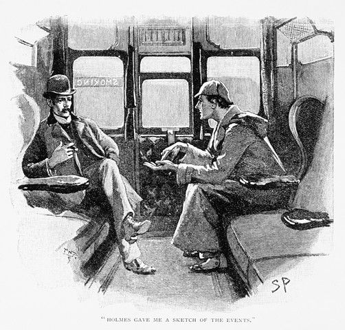 "Holmes and Watson in a Sidney Paget illustration for ""Silver Blaze"", public domain"